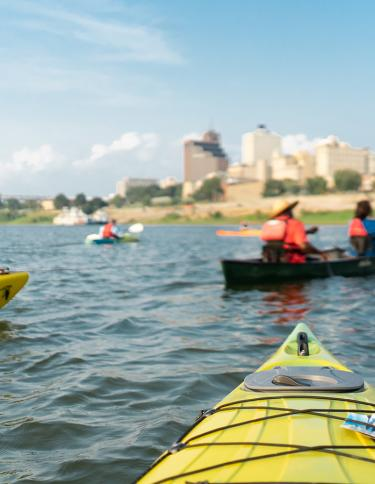 Kayaking on the Mississippi River in Memphis