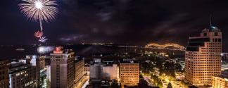 fireworks over downtown Memphis