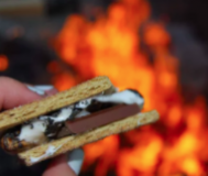 S'more with fire in the background