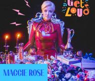 Maggie Rose in red leather with graphics for Get Loud concert