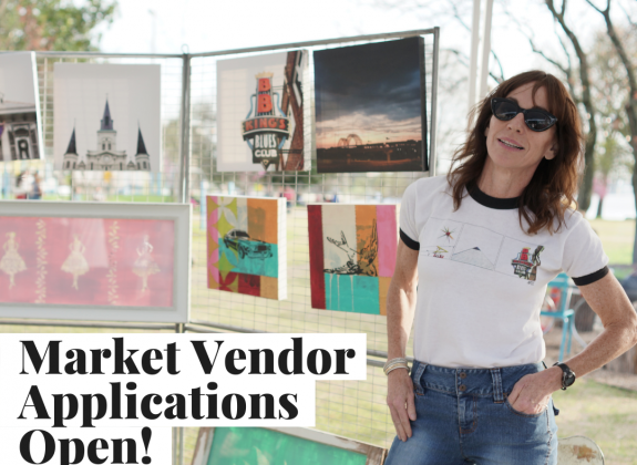 river market applications open graphic with woman standing at her art booth