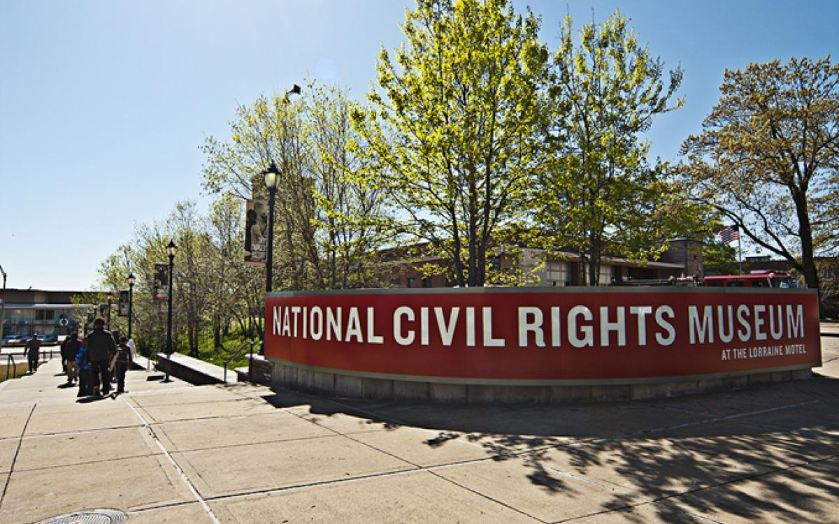 National Civil Rights Museum Sign on South Main St, Memphis