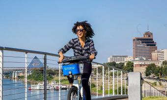 Biking at Beale Street Landing in downtown Memphis